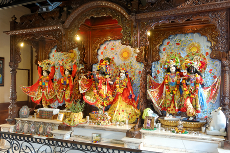 LUCAY-LE-MALE, AUGUST 15: Deities on the main altar in the Hare Krishna temple, FRANCE, 2018