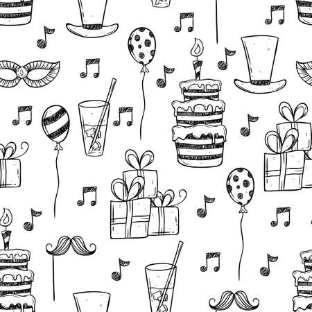 Illustration for birthday party icons using doodle or hand drawing style - Royalty Free Image