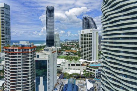 Broadbeach Australia - March 13, 2018: Cityscape Gold Coast. Broadbeach is a suburb in the City of Gold Coast, Queensland, Australia. At the 2011 Census, Broadbeach had a population of 4,614.