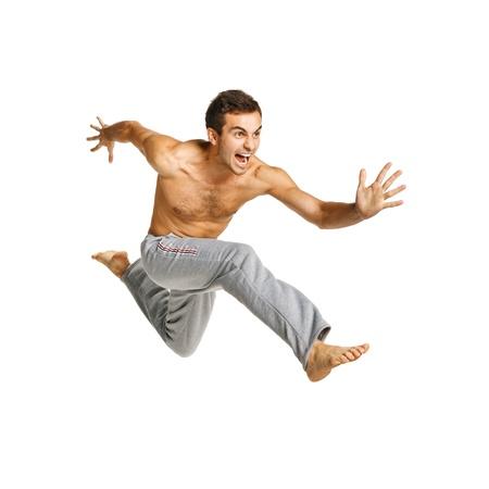 Full length of a male flying against white background
