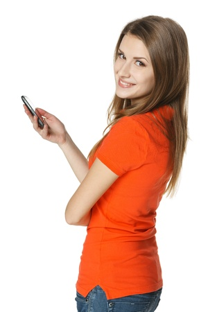 Happy woman with mobile phone, over white background
