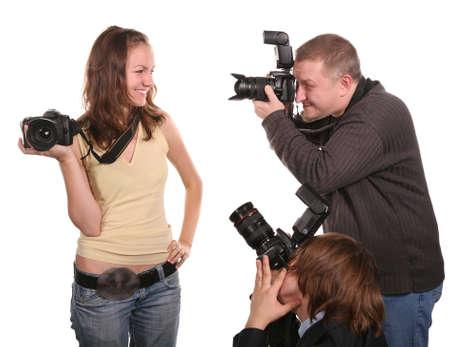 Photo pour three photographers - image libre de droit