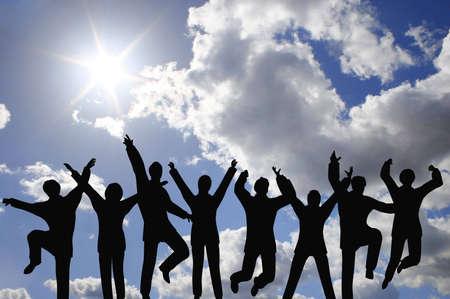 success businessteam on sky