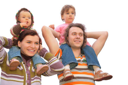 parents with children on shoulders