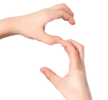 childish hands represents letter S from alphabet