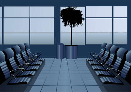 Waiting room airport. blue. vector