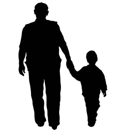 vector grandfather and boy walking