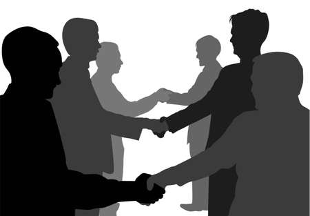 shaking hands business partners vector
