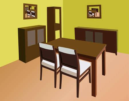 dinning room interior vector
