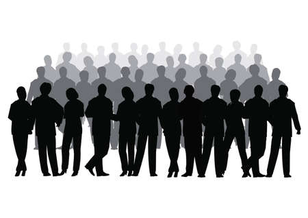 Business crowd vector several row