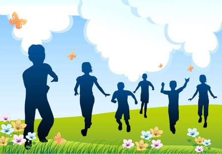 run children silhouette
