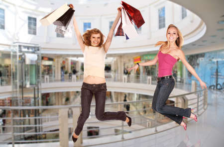 jumping girls in shopping center, collage