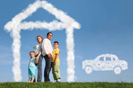 Foto de family of four dreams about house and car, collage - Imagen libre de derechos