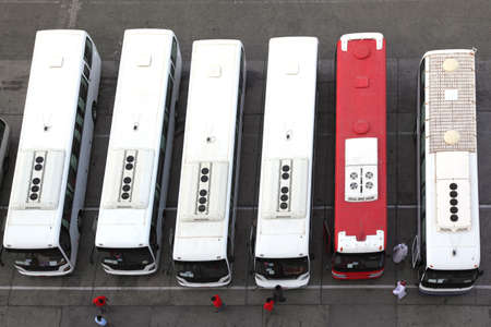 regular buses on station and drivers in uniform view from above