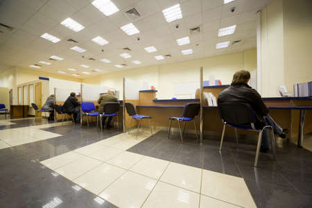 Bank office, Servicing branch, Cabins of operators, Clients of bank
