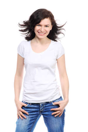 Photo pour Beautiful brunette girl in jeans and white t-shirt is smile - image libre de droit