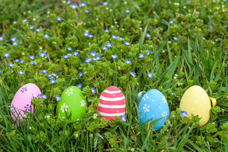 colorful Easter egg in the fresh spring meadow. green grass and blue flowers selective focus on easter eggs