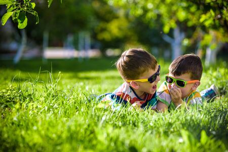 Photo pour Happy smiling boy sibling brother relaxing on the grass. Close up view with copy space. Preschool kids wearing sunglasses summer holiday camp. Relaxation happy childhood friendship concept. - image libre de droit