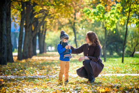 Photo pour Mother and baby play in autumn park. Parent and child walk in the forest on a sunny fall day. Children playing outdoors with yellow maple leaf. Toddler boy play with golden leaves. Mom hugging kid. - image libre de droit