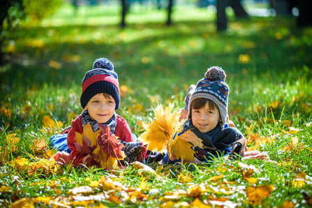 Photo for Two beautiful boy brothers, little child laying with a lot of yellow autumn leaves in park. Kid having fun on sunny warm autumn day. Season, children, lifestyle concept - Royalty Free Image