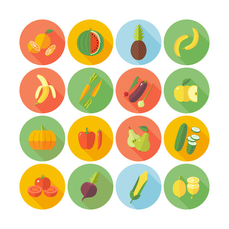 Set of flat design icons for fruits and vegetables.のイラスト素材