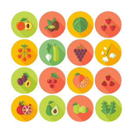 Set of flat design circle icons for fruits and vegetables.のイラスト素材