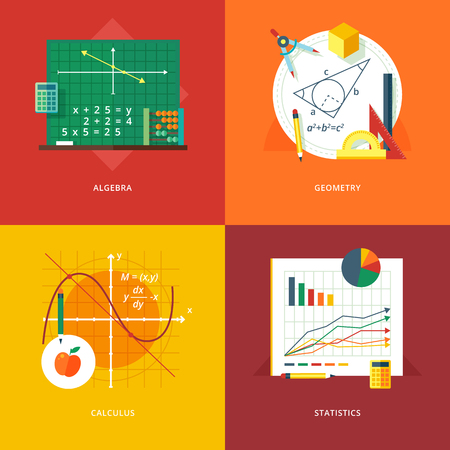 Illustration pour Set of flat design illustration concepts for algebra, geometry, calculus, statistics.  Education and knowledge ideas. Mathematic science.  Concepts for web banner and promotional material. - image libre de droit