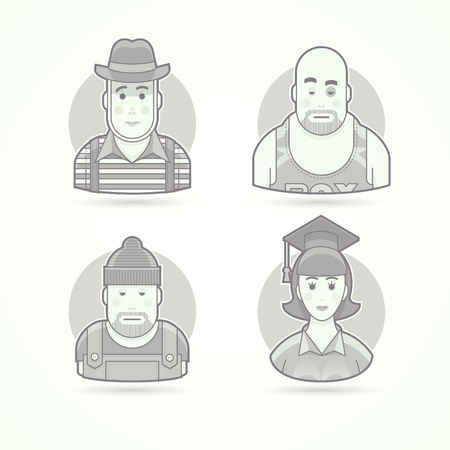 Pantomime performer, boxer, worker, graduate woman. Set of character, avatar and person vector illustrations. Flat black and white outlined style.