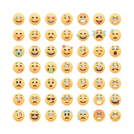 Illustration for Set of emoticons, emoji isolated on white background, vector illustration. - Royalty Free Image