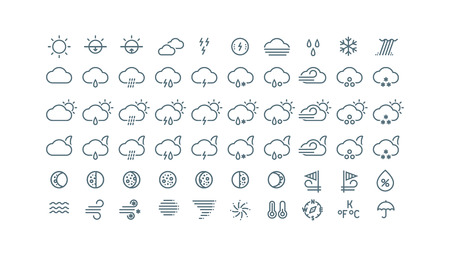 Illustration for Thin line weather icons collection. Gray icons isolated on white background. - Royalty Free Image