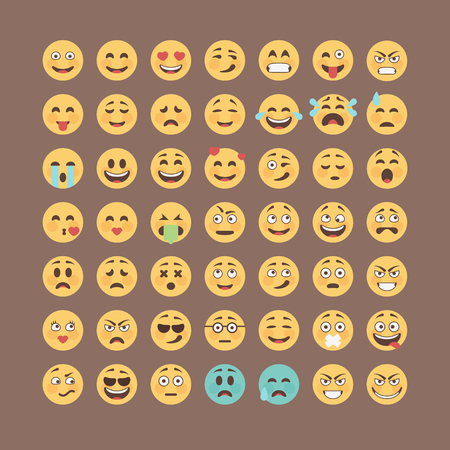Illustration for Emoticons collection. Flat emoji set. Cute smileys icon pack. Vector illucttration. - Royalty Free Image