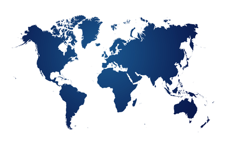 Foto de blue map of the world on white background - Imagen libre de derechos