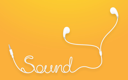 Illustration for Earphones, Earbud type white color and Sound text made from cable isolated on yellow orange gradient background, with copy space - Royalty Free Image