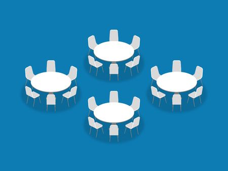 Illustration pour Meeting room setup layout configuration Banquet Rounds isometric style illustration, perspective 3d with shadow on blue color background - image libre de droit