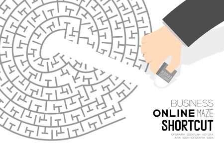 Shortcut business online maze or labyrinth at sign shape with businessman and eraser, design illustration. Isolated on white background, with copy space.