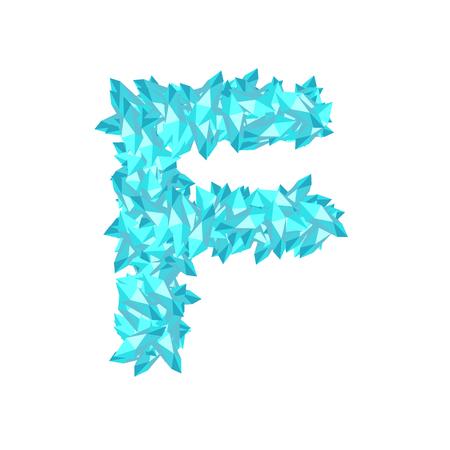 Alphabet Crystal diamond 3D virtual set letter F illustration Gemstone concept design blue color, isolated on white background, vector eps 10