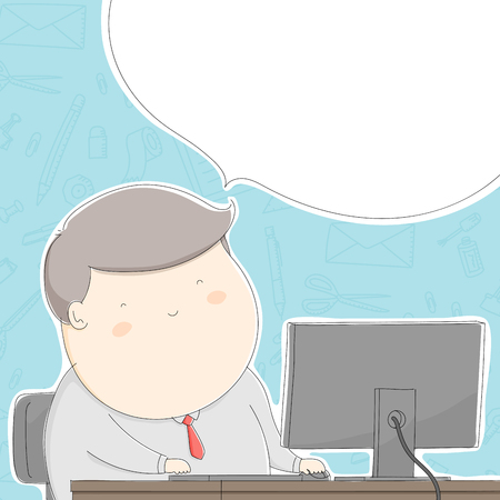 Fat office man character happy with work, Lifestyle concept design illustration isolated on stationary pattern blue pastel color background with speech bubble copy space, vector eps 10