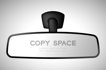 Mock-up rear view mirror inside car illustration black color isolated on gradient background, with copy space