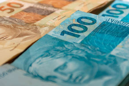 Photo pour Money bills spread across the table - image libre de droit