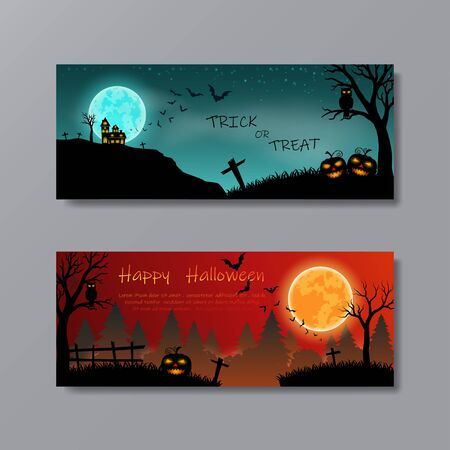 Illustration pour Set of Happy Halloween with full moon for party,poster,banner,template,website or background,vector illustration - image libre de droit