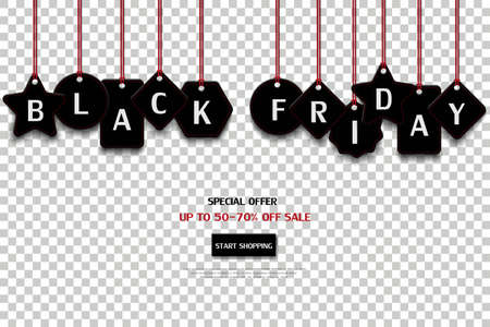 Illustration pour Black friday price tag isolated on transparent background,for advertising,shopping online,website or promotion,vector illustration - image libre de droit