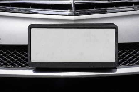 empty license plate of luxury car