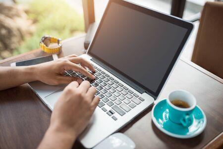 Foto für Close up man use laptop computer while connecting to wireless - Lizenzfreies Bild