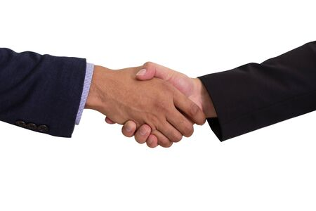 Photo pour Businessman shaking hands to make business dealing, isolated on white background - image libre de droit