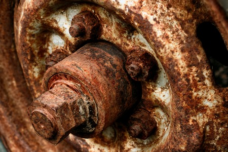 Rusty wheel wheels with large nuts
