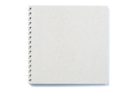Photo pour Grey notebook with ring binder on isolated white background paper texture - image libre de droit