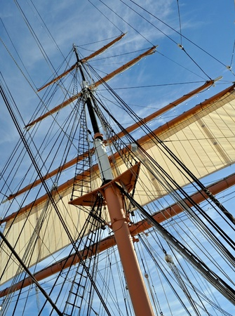 The Mast and Rigging of a Tall Sailing Ship.