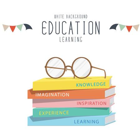 Vector Illustration of eyeglasses on top stack books.