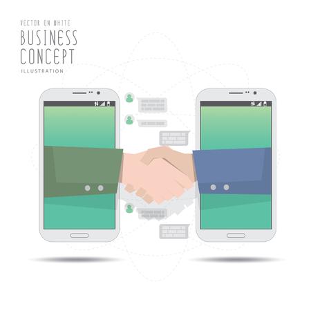 Illustration pour Illustration vector handshake deal business with mobile phone. - image libre de droit