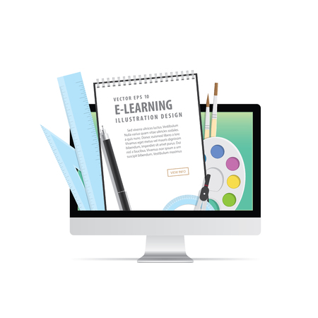 e-learning with computer, learning through an online network. with supplies such as pens, book wire, compasses, palette, brush. meaning to learn a variety of subjects quick and easy illustration vector.